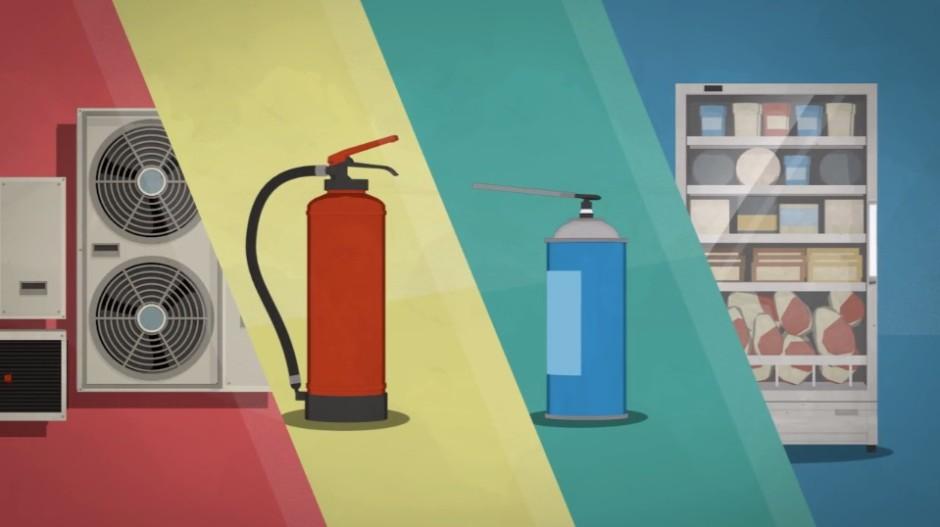 F-gaser kan släppas ut från t ex kyl-, värme- och brandskyddsutrustning. Bildkälla: Environmental Investigation Agency, EIA.