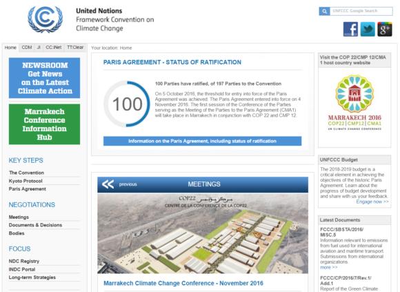 Klimatkonventionens webbplats. Bild: UNFCCC