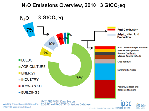 Källor till utsläpp av lustgas (N2O, dikväveoxid). Källa: IPCC/UNFCCC