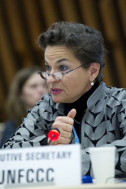 Christiana Figueres, Executive Secretary, United Nations Framework Convention on Climate Change (UNFCCC) addresses during the WHO Health and Climate Conference Opening Plenary Session, WHO Headquarters. Wednesday 27 August 2014. Photo by Violaine Martin