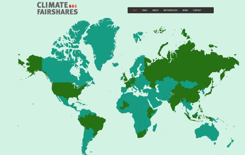 """Greenhouse Development Rights (GDR) har visualiserats som """"Climate Fair Shares"""" av Jordens vänner och Jubilee South Asia Pacific Movement on Debt and Development."""