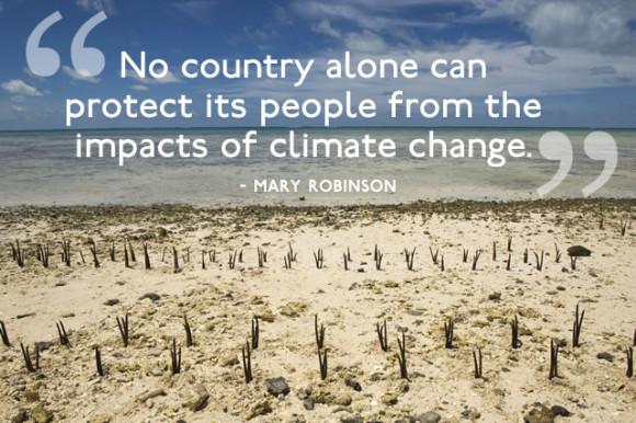 Kiribati är en av de öar vars hela existens är hotad av klimatförändringarna. Bild: FN/Eskinder Debebe