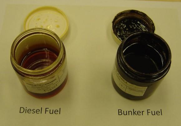 Diesel är betydligt tunnare och innehåller mindre giftiga ämnen än bunkerolja. Bildkälla: NOAA