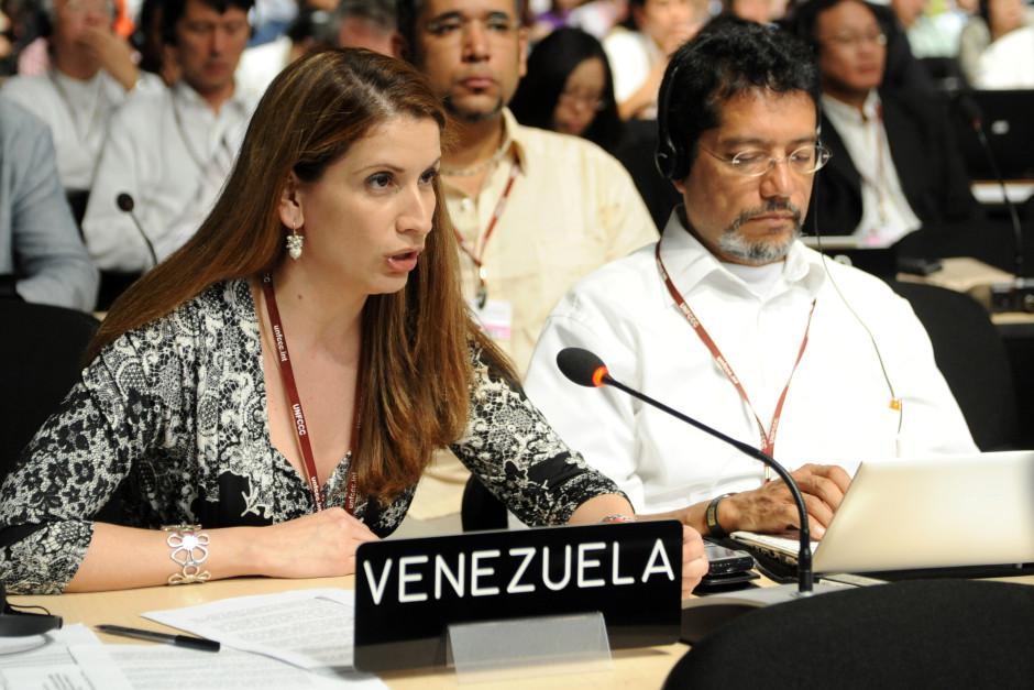 En av de mest kända klimatförhandlarna i ALBA-gruppen, Claudia Salerno Caldera, Venezuela, under klimatmötet i Cancún 2010.