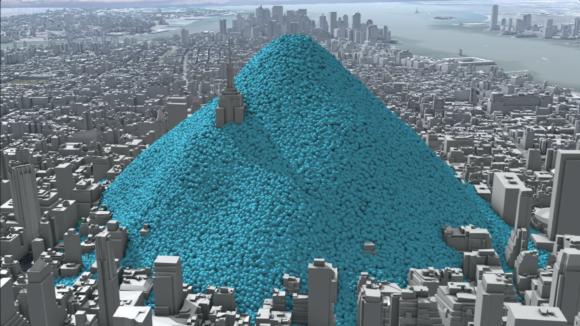 En dags utsläpp av koldioxid i New York, symboliserat genom bollar som motsvarar 1 ton vardera, totalt 148901 ton (2010). Bild: Carbon Visuals (CC BY 2.0).