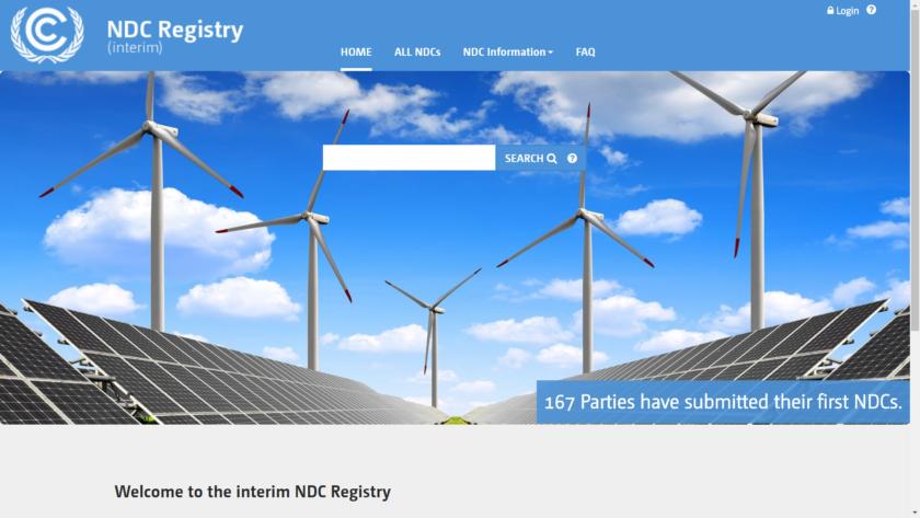 """NDC - Nationally Determined Contribution, på svenska """"Nationellt fastställt bidrag"""", eller nationella klimatplaner. Bilden visar registret för inlämnade NDCer, på UNFCCCs webbplats (feb 2018)."""