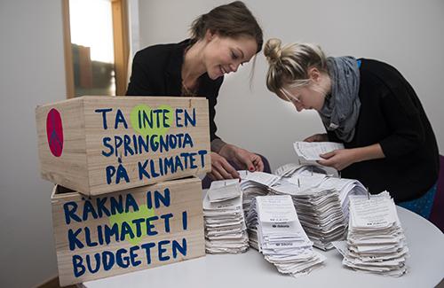 Kampanjen Springnotan drevs av biståndsorganisationen Diakonia för att få Sveriges regering att ta ansvar för klimatfinansieringen. Bild: Gustav Hugosson