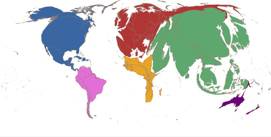 Karta där ländernas storlek visar bruttonationalprodukt (BNP) för 2013. Bildkälla: Brown University http://blogs.brown.edu/choices/2015/02/05/why-does-climate-change-matter/