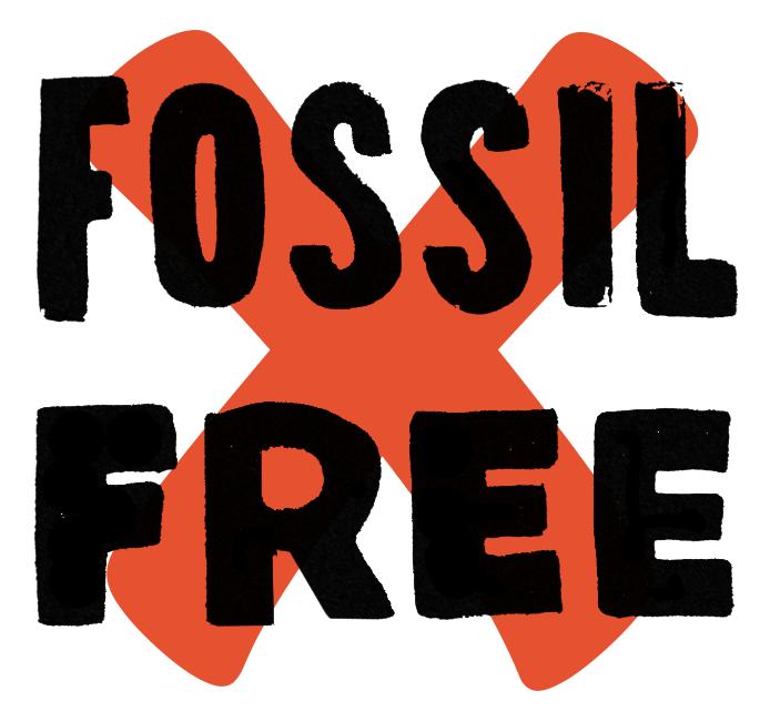 Logotyp för Fossil Free-kampanjen.