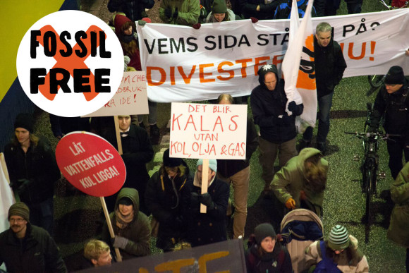 """""""Det blir kalas utan kol, olja & gas"""" - budskap från Fossil Free Sverige."""