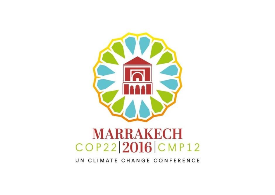 Officiell logo för klimatmötet COP22 som hålls i Marocko i november 2016.