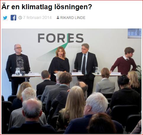 Seminarium om klimatlag med riksrevisor Claes Norgren, Nina Ekelund från Hagainitiativet och professor John Hassler från IIES och Finanspolitiska rådet. Källa: Fores