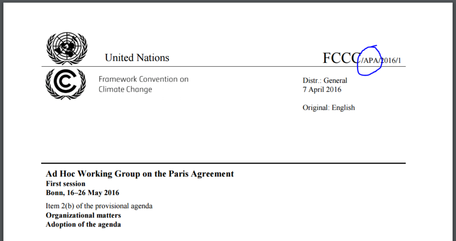 APA - The Ad Hoc Working Group on the Paris Agreement. Källa: UNFCCC