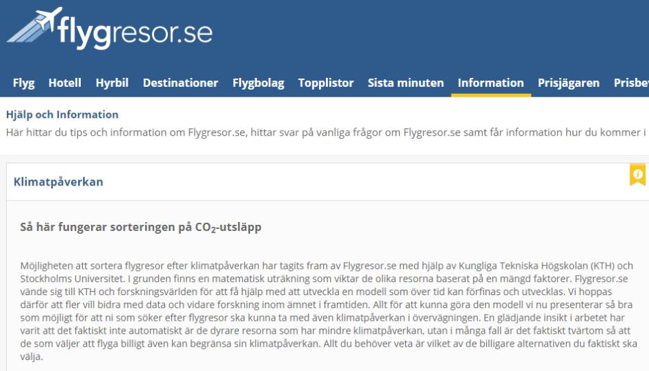 Ny funktion för att jämföra CO2-utsläpp för flygresor på sajten flygresor.se