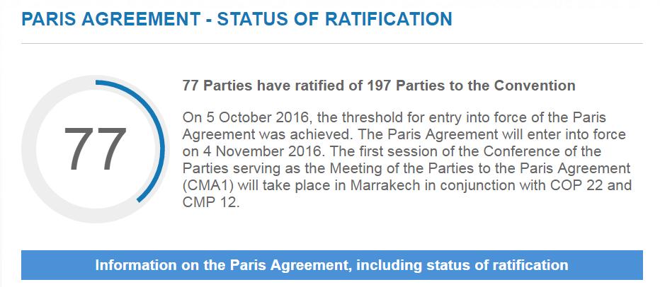 Ratificering av Parisavtalet, 13 oktober 2016. Bild: UNFCCC