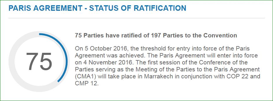 Ratificering av Parisavtalet, 10 oktober 2016. Bild: UNFCCC