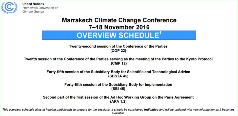 CMA - Conference of the Parties serving as the meeting of the Parties to the Paris Agreement - kommer att hålla ett möte på COP22, vilket dock inte syns ännu i det preliminära programmet. Källa: UNFCCC