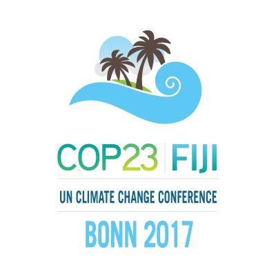 Officiell logotyp för COP23 som visar hur sårbara små ö-stater är.