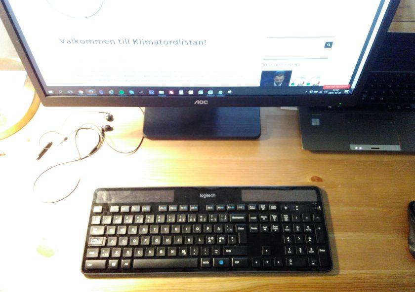 Denna artikel om solenergi är skriven på ett trådlöst tangentbord som drivs helt och håller med solceller.