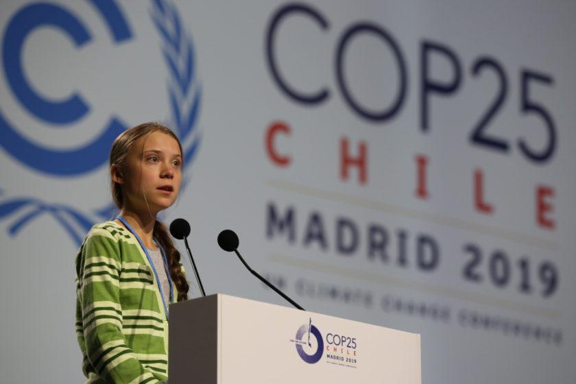 Greta Thunberg kom till COP25 och höll ett tal om att världens ledare måste enas om att minska utsläppen snabbt. Bild: IISD/ENB | Kiara Worth